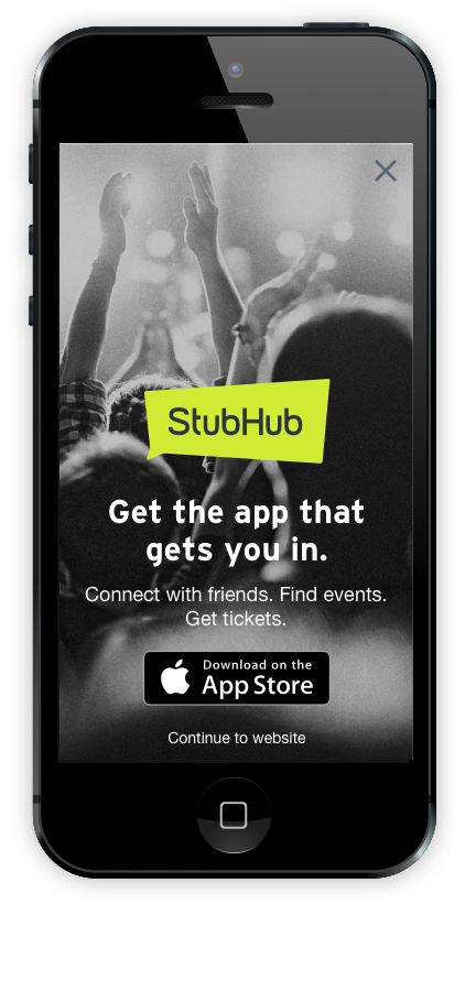 StubHub mobile app interstitial
