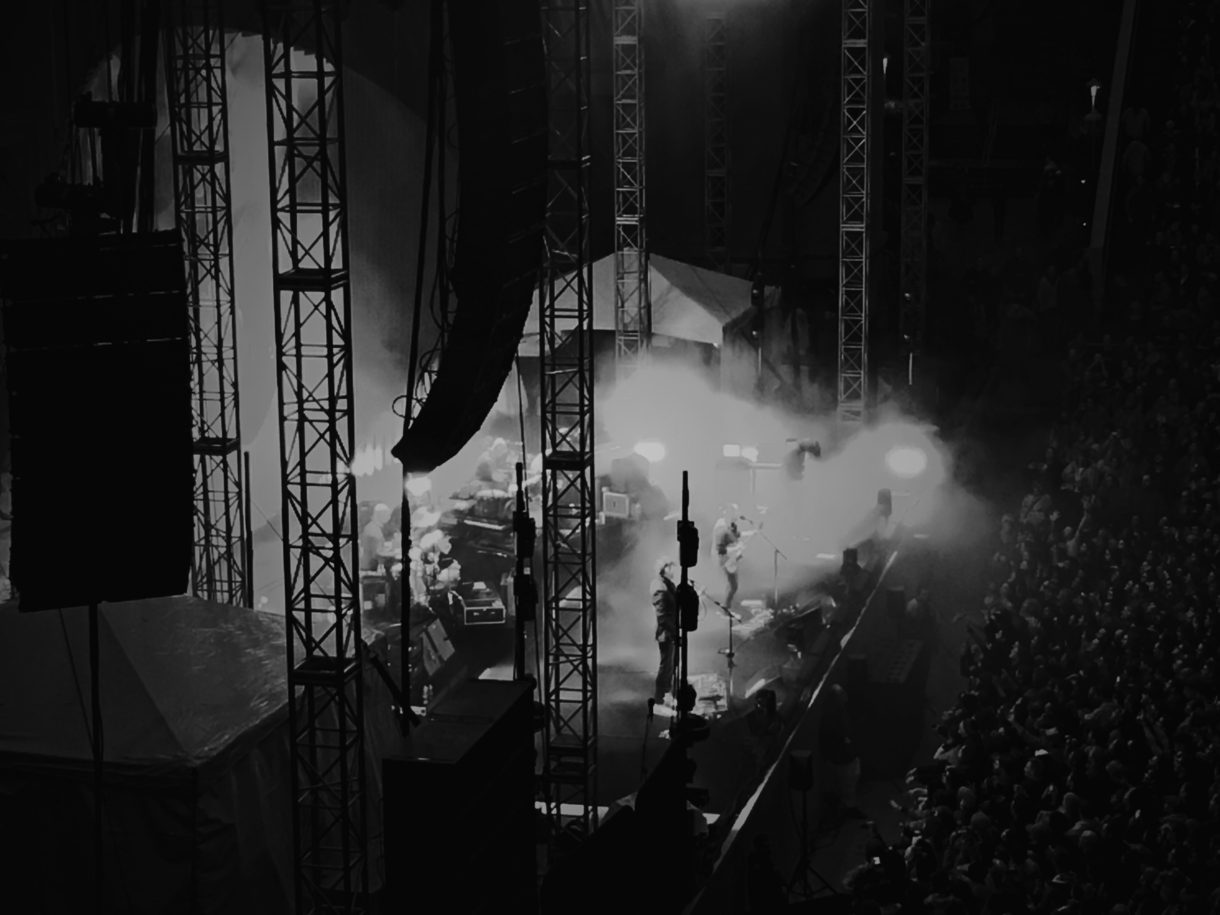 A night time photo of Radiohead playing at the Greek Theater in Berkeley, CA.